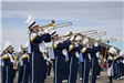 Image of the Wildcats marching band playing the trombone
