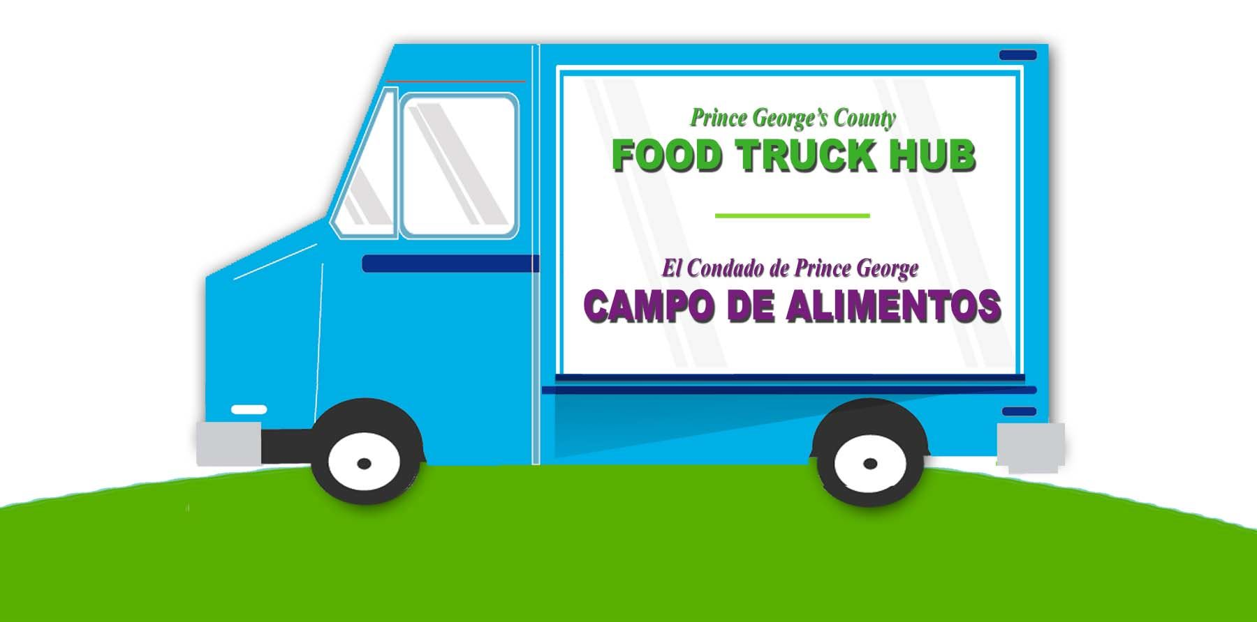 Image of Food Truck with Sign - Prince George's County Food Truck Hub