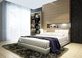 Nice Bedroom, curtains and window, headboard and bed, rug