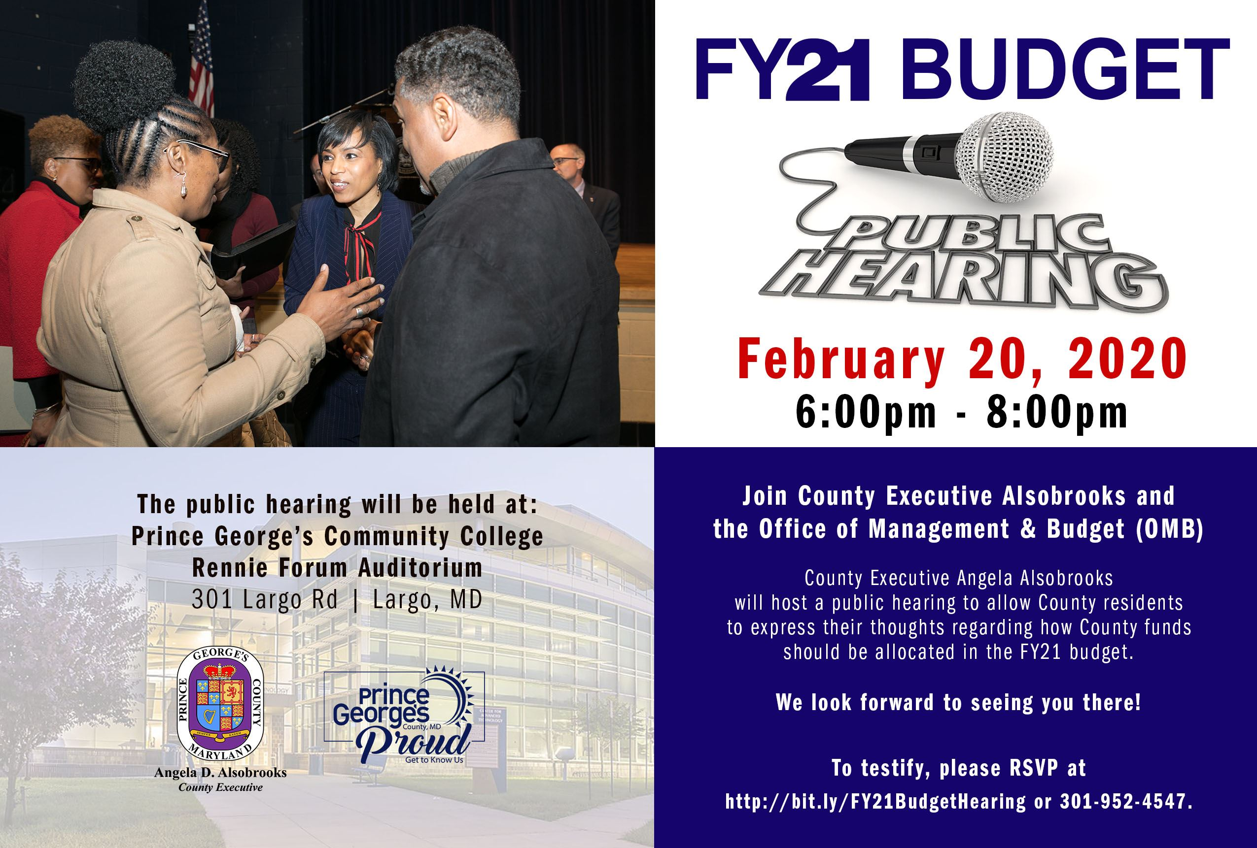 Flyer for the Fiscal Year Budget Public Hearing on February 20th at 6 p.m.