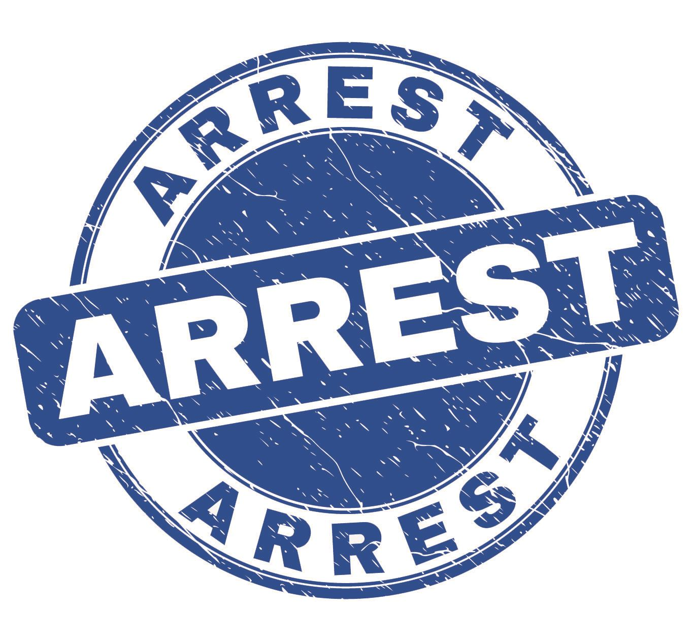Arrest in big block letters. The color is blue