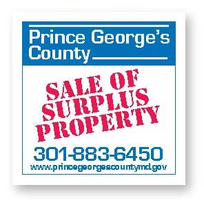 Prince Georges County Sale of Surplus Property Sign