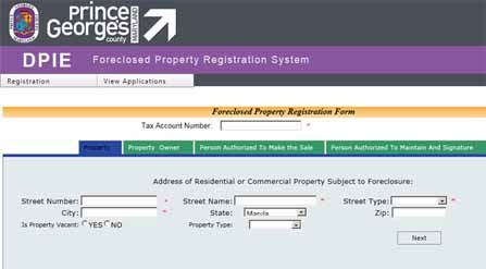Screen Capture of Foreclosure Portal
