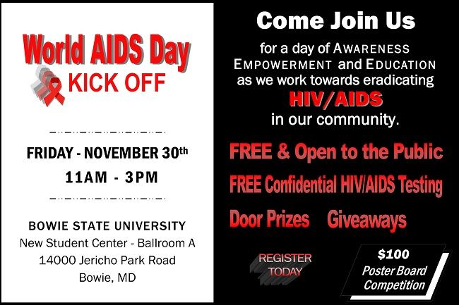 Bowie State University 2018 World AIDS Day flyer