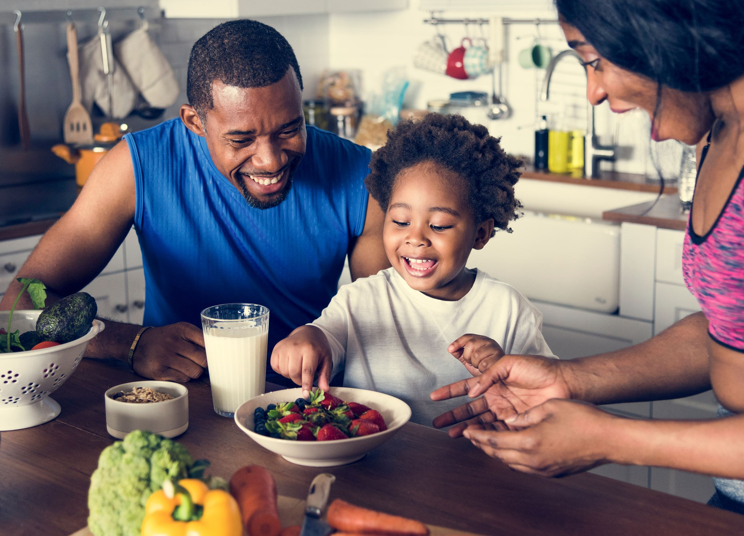 African American, Family, eating healthy, mom, dad, son, boy
