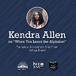 Kendra Allen graphic featuring Ms. Allen's face and event date and time
