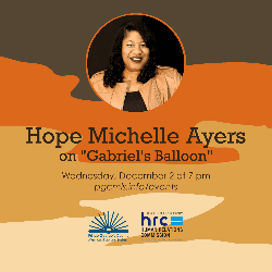 Flyer for December 2, 2020 event featuring Hope Michelle Ayers