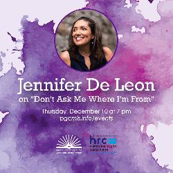 Flyer for December 10, 2020 event with Jennifer De Leon