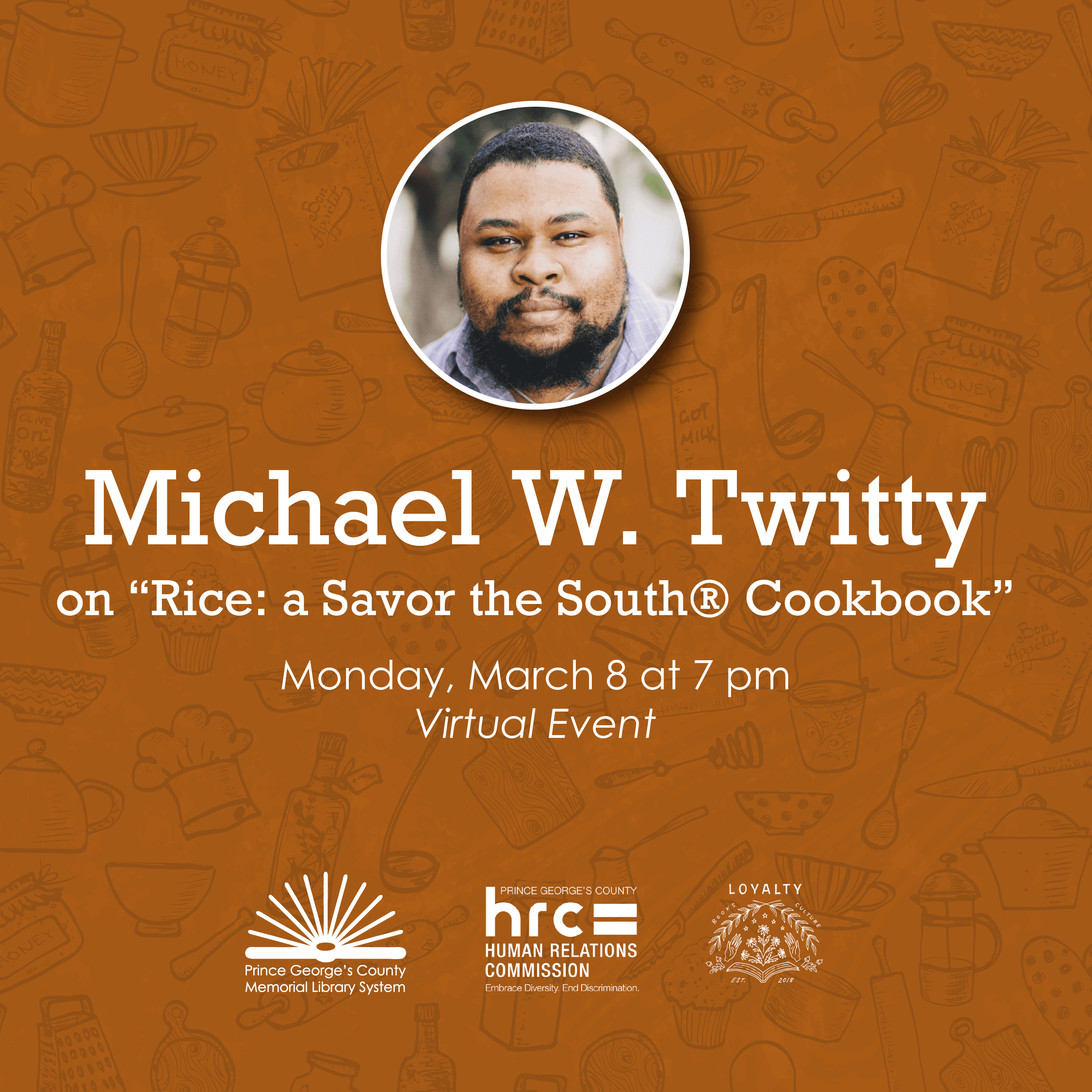 Flyer for Michael Twitty about cookbook RICE
