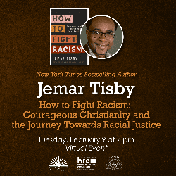 Flyer for Jemar Tisby event on Feb 9 with picture of author