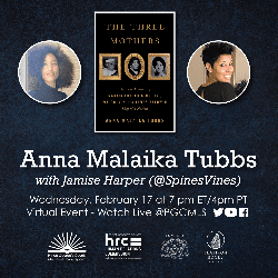 Flyer for Anna Malaika Tubbs event on Feb 17 with picture of author