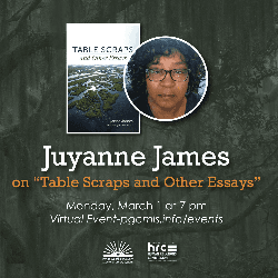 Flyer for Juyanne James event March 1 with photo of author and book