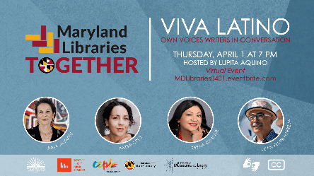 MD Libraries Together Flyer for April 1 Own Voices Latinx Event
