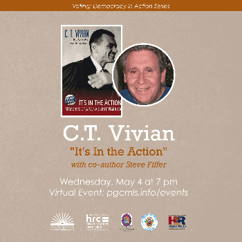Flyer for May 4 - CT Vivian - Voting: Democracy in Action event