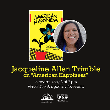 """Flyer for May 3 event with Jacqueline Trimble on her collection """"American Happiness"""""""