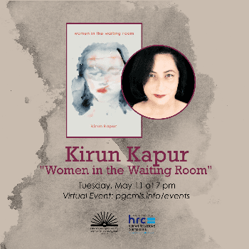 """Flyer for May 11 event with Kirun Kapur on """"Women in the Waiting Room"""""""