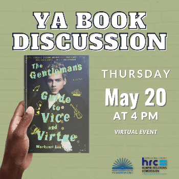 """Flyer for book discussion on """"The Gentleman's Guide to Vice and Virtue"""""""