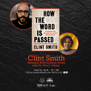 Flyer for Clint Smith's book launch on June 1st