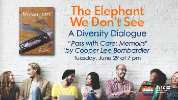 """Flyer for June 29 Diversity Dialogue series, book discussion on """"Pass With Care"""""""