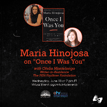 Flyer for June 23 Maria Hinojosa event