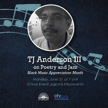 flyer for TJ Anderson III June 21 event, features picture of TJ Anderson