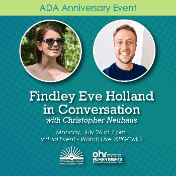 Flyer for July 26 event with photos of Findley Holland and Chris Neuhaus