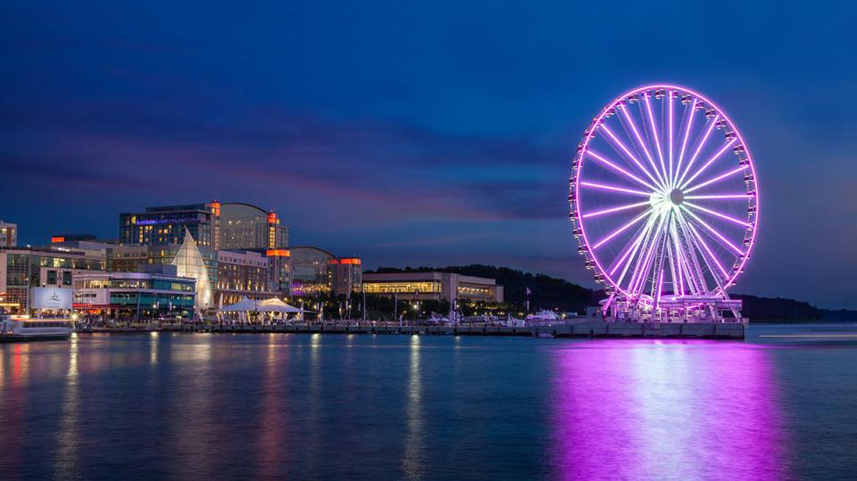 Image of the Capital Wheel at the National Harbor in Purple Lights for Domestic Violence Awareness Month
